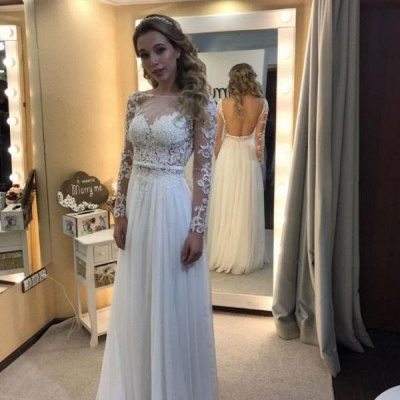 Simple A-line Backless Long Sleevess Floor-length Chic Lace Wedding Dress_3