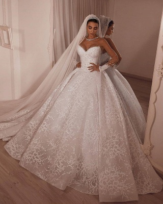 Strapless Sweetheart Princess Wedding Dresses | Ball Gown Lace Bridal Gowns_2