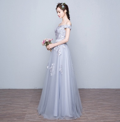 Off-the-Shoulder Floor-Length Lace-Appliques Lace-Up-Back A-line Prom Dresses_3