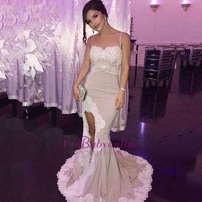 Mermaid Appliques Spaghetti-Straps Side-Slit Glamorous Prom Dress_1
