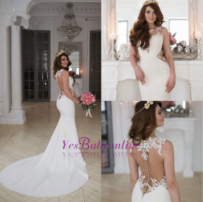 Cutaway-Sides Sheer Mermaid Lace Sexy Wedding Dresses_1