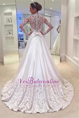 A-line  Long Sleeves See Through Lace Wedding Dresses with Bowknot_1