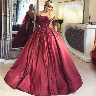 Burgundy Off-the-Shoulder Long-Sleeves Appliques Ball Crystal Prom Dresses_5