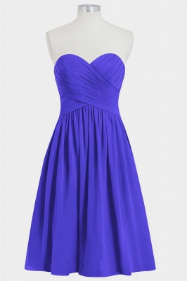 A Line Chiffon Strapless Sweetheart Knee Length Bridesmaid Dresses with Ruffles_3