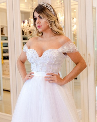 Glamorous Pearls Ball Gown Wedding Dresses | Off-the-Shoulder Bridal Gowns_3
