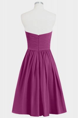 A Line Chiffon Strapless Sweetheart Knee Length Bridesmaid Dresses with Ruffles_2