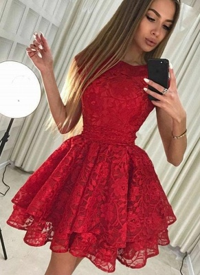 Chic A-Line Scoop Homecoming Dresses | Sleeveless Red Short Cocktail Dresses_4