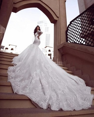 Off the Shoulder Lace Mermaid Wedding Dresses with Long Sleeves_2