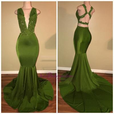 Elegant Mermaid Green Prom Dresses | Deep V-Neck Beaded Formal Dresses_1