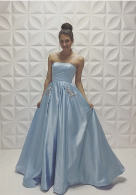 Baby Blue Strapless Prom Dresses Sleeveless Beadings A-line Formal Dresses_2