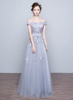 Off-the-Shoulder Floor-Length Lace-Appliques Lace-Up-Back A-line Prom Dresses_2