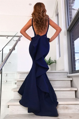 Ruffles Backless Navy Blue Sexy Mermaid Long Prom Dresses_3