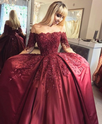 Burgundy Off-the-Shoulder Long-Sleeves Appliques Ball Crystal Prom Dresses_3