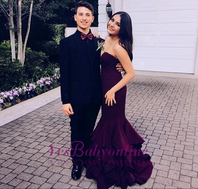 Sleeveless Sweetheart Sweep-Train Mermaid Ruffles Newest Prom Dress_1