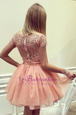 Coral Homecoming Dresses Lace Appliques Beaded Puffy Short Prom Dresses_1
