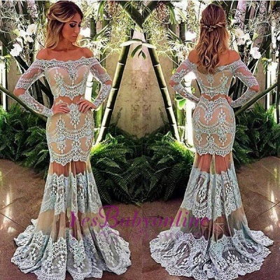 2019 Sheer Mermaid Prom Dresses Off-the-Shoulder Long Sleeves Lace Elegant Evening Gowns_1