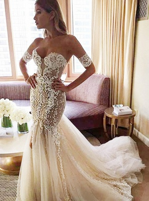Strapless Sexy Mermaid Wedding Dress | Open Back Sweetheart Bridal Dress with Long Tulle Train_3