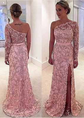 Pattern Long Long-Sleeve Pink One-Shoulder Leaf Prom Dress_3