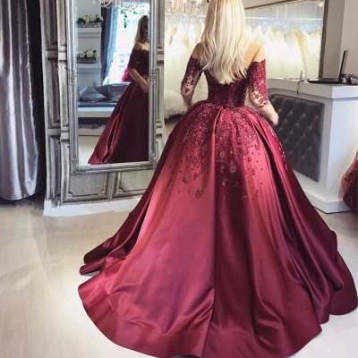 Burgundy Off-the-Shoulder Long-Sleeves Appliques Ball Crystal Prom Dresses_4