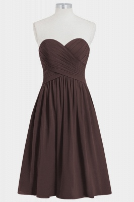 A Line Chiffon Strapless Sweetheart Knee Length Bridesmaid Dresses with Ruffles_4