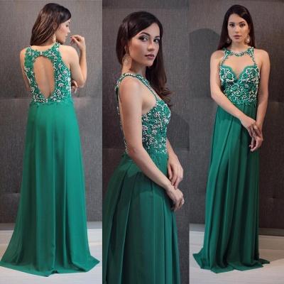 Sleeveless Crystal Green Open-Back Scoop Floor-Length Evening Dress_3
