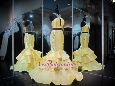 Crystals Mermaid Ruffles Sleeveless Halter Yellow Gorgeous Zipper Evening Gown_1