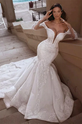 Off the Shoulder Lace Mermaid Wedding Dresses with Long Sleeves_1