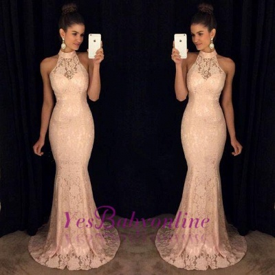 Lace Elegant Mermaid High-Neck Sleeveless Sweep-Train Prom Dress_1
