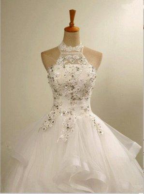 Modern High Neck Beaded Sleeveless  Lace Appliques Wedding Dress_4