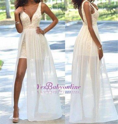 Sheath Sleeveless Sexy Open-Back Lace Deep-V-Neck Prom Dress_1