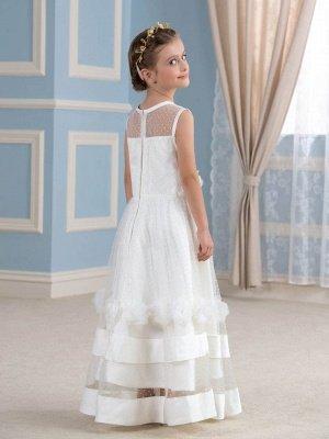 Cute A-Line Tulle Sheer Tulle Scoop Sleeveless Flower Girl Dress_3