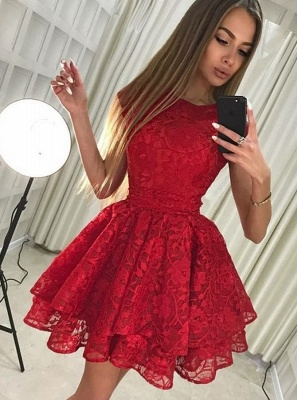 Chic A-Line Scoop Homecoming Dresses | Sleeveless Red Short Cocktail Dresses_1