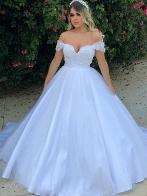 Glamorous Pearls Ball Gown Wedding Dresses | Off-the-Shoulder Bridal Gowns_1