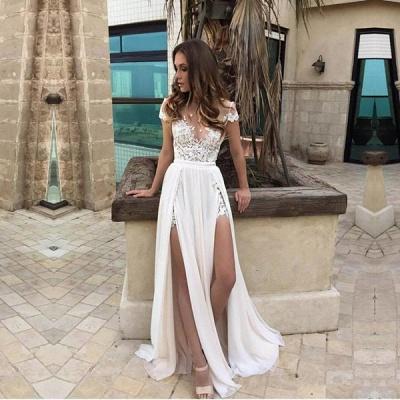 Sexy Side Slits Wedding Dress | Summer Beach Chiffon Bridal Dresses_4