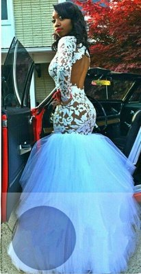 White Mermaid Sheer Prom Dresses Long Sleeves Tiers Tulle Skirt Formal Gowns_3