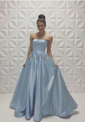 Baby Blue Strapless Prom Dresses Sleeveless Beadings A-line Formal Dresses_2