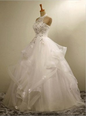 Modern High Neck Beaded Sleeveless  Lace Appliques Wedding Dress_5