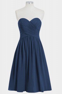 A Line Chiffon Strapless Sweetheart Knee Length Bridesmaid Dresses with Ruffles_5