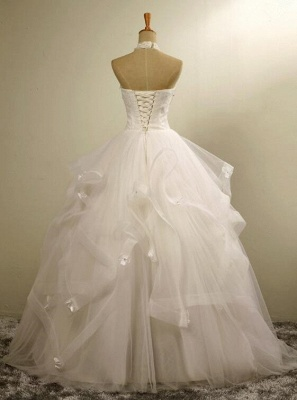 Modern High Neck Beaded Sleeveless  Lace Appliques Wedding Dress_3