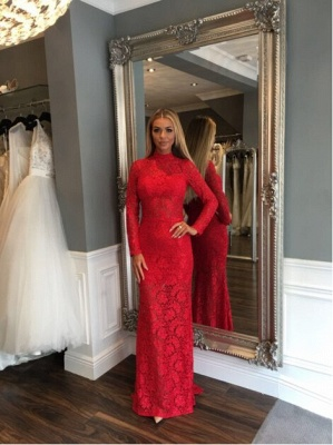 Zipper Red Long-Sleeve Mermaid Sexy Sweep-Train Lace High-Neck Prom Dress_2