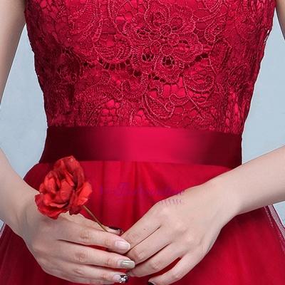 Lace A-Line Off-Shoulder Red  Elegant Evening Dresses_4