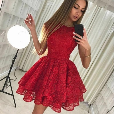 Chic A-Line Scoop Homecoming Dresses | Sleeveless Red Short Cocktail Dresses_3