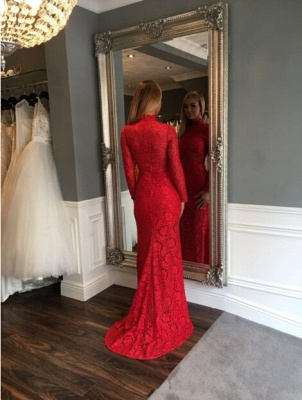 Zipper Red Long-Sleeve Mermaid Sexy Sweep-Train Lace High-Neck Prom Dress_3