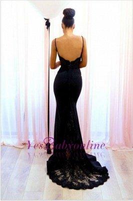 Spaghetti-Straps Sexy Lace Mermaid Black Evening Dress_1