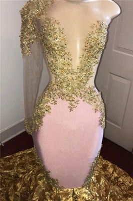 Stunning Gold Floral One Sleeve Mermaid Prom Dresses | African Prom Gowns_3