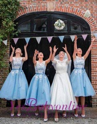 Scoop-neckline A-line Lace Tea-length Sashes Bridesmaid Dress_1