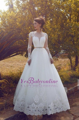 Sleeves Glamorous Tulle Sweep Train Appliques A-line Wedding Dress_1
