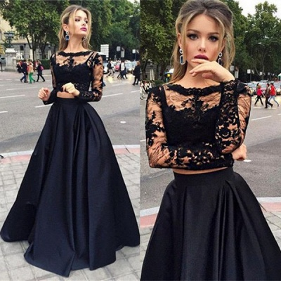 Two-Piece Black A-line Long-Sleeves Long Prom Dresses_4