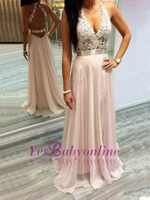 Sexy Pink Prom Dresses Halter V-Neck Lace Sleeveless Open Back  Evening Gowns_1