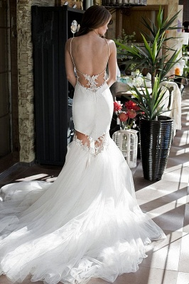 Backless Sexy Mermaid Wedding Dresses | Spaghetti Straps Lace Appliques Bridal Gowns_4